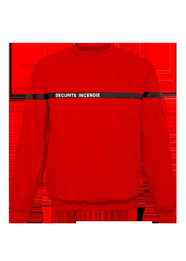 Sweat Marquage Sécurité Incendie Rouge Bande Marine.