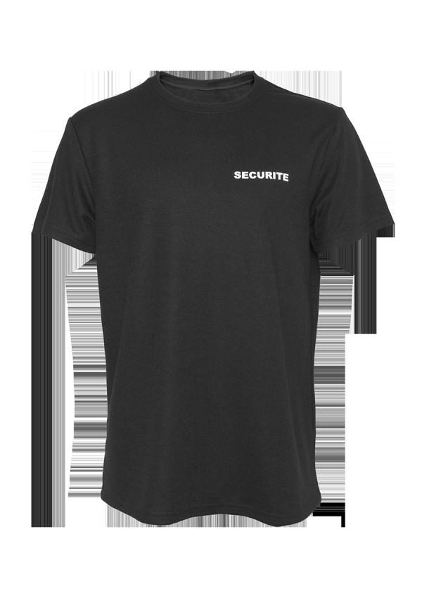 T-shirt Technique Sécurité Noir de face.