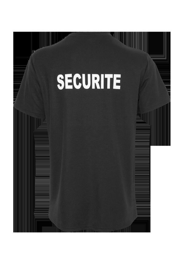 T-shirt Technique Sécurité Noir de dos.