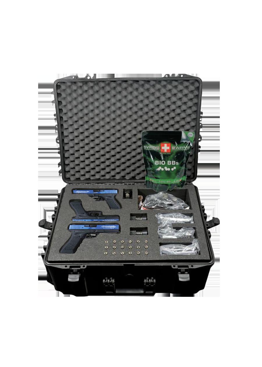Kit Glock Entrainement contenant 3 répliques d'arme.