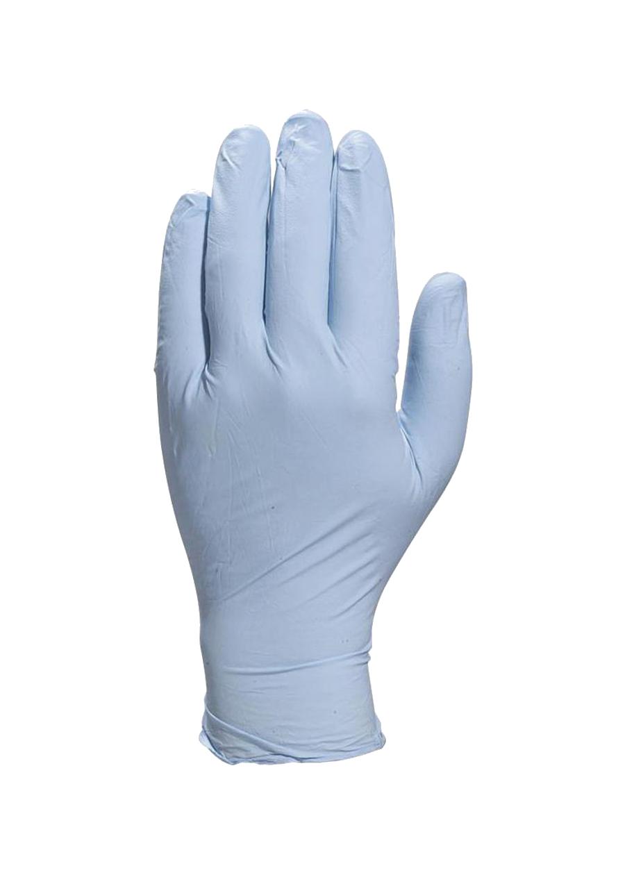 Gants Nitrile bleu clair.
