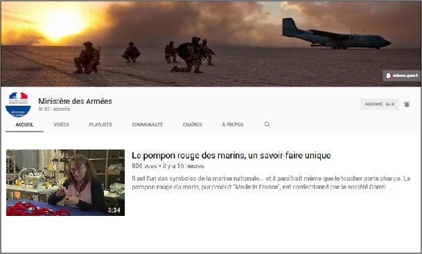 Reportage sur le pompon des marins sur la page YouTube du Ministère des Armées.