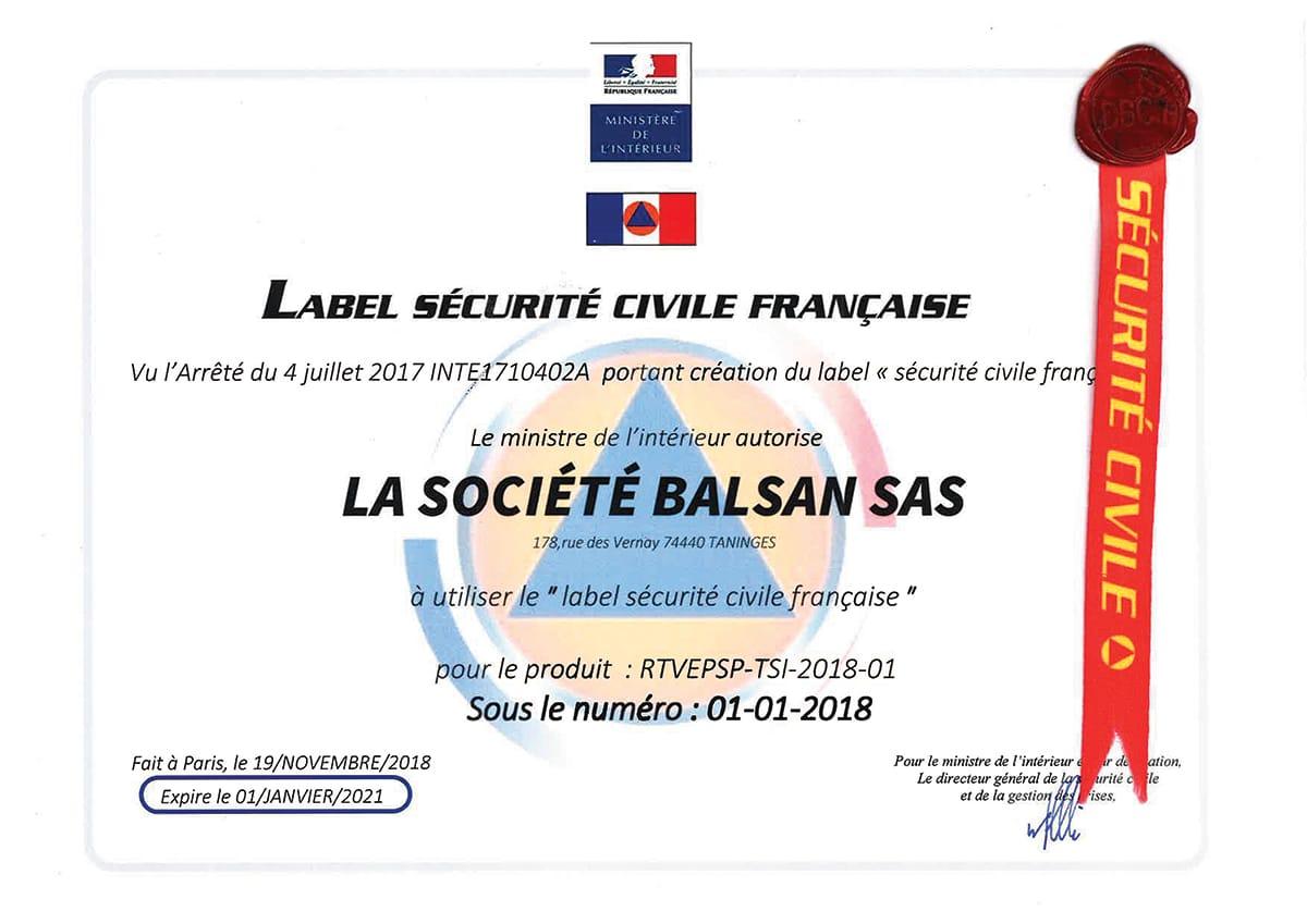 Label sécurité civile Balsan